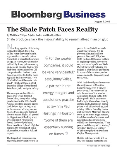 The Shale Patch Faces Reality