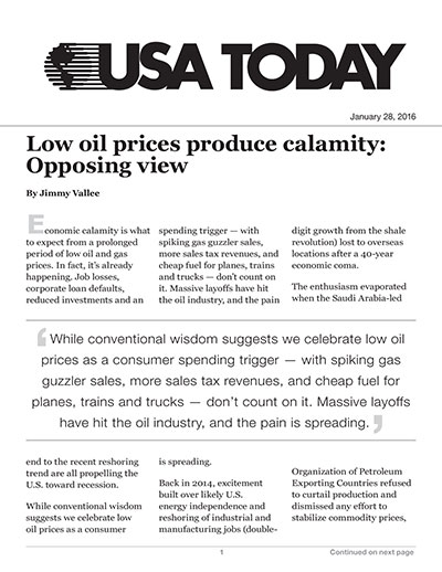Low oil prices produce calamity: Opposing view