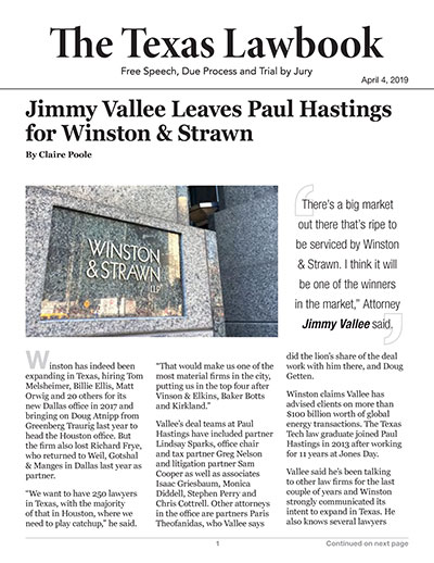 Jimmy Vallee Leaves Paul Hastings for Winston & Strawn