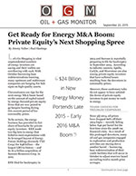 Get Ready for Energy M&A Boom: Private Equity's Next Shopping Spree